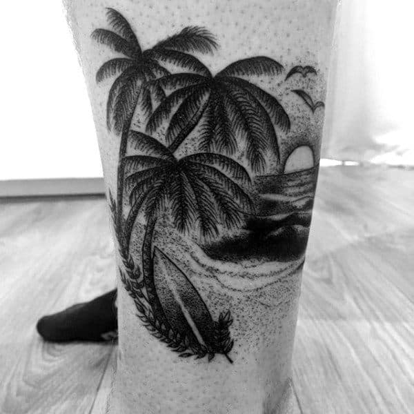 Guys Lower Legs Palm Trees Shore And Surf Tattoo