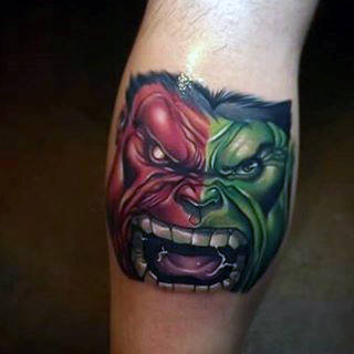 Guys Lower Legs Red Green Hulk Tattoo