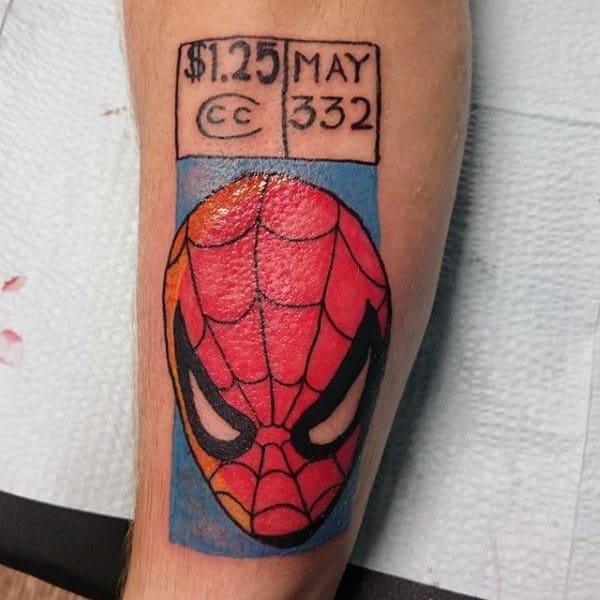 Guys Lower Legs Spiderman Tattoo