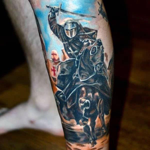 Guys Lower Legs Warrior On Horse Tattoos