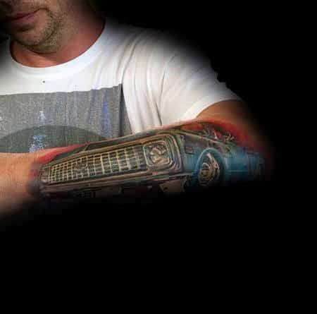Guys Lowered Vintage Truck Outer Forearm Tattoo Design Ideas