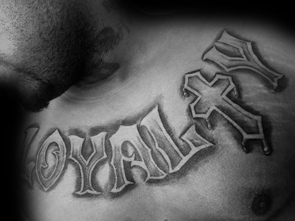 Guys Loyalty Cross Chest Tattoos With 3d Design
