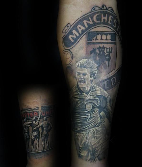 Guys Manchester Forearm United Tattoos