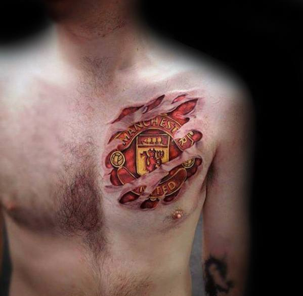 Guys Manchester United Ripped Skin Upper Chest 3d Tattoo Design Ideas