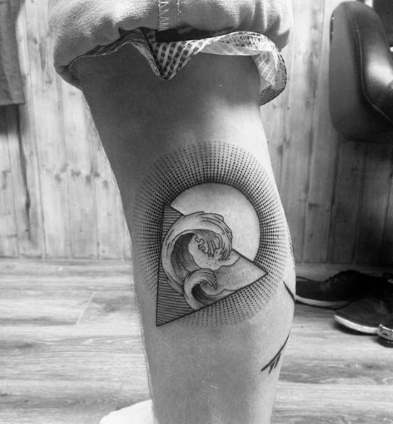 Guys Manly Small Ocean Waves With Triangle And Sun Side Of Leg Tattoo