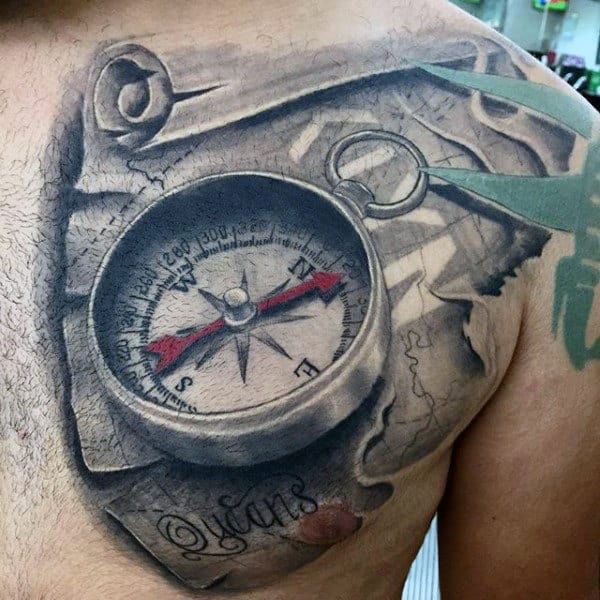 Guys Map Scroll With Compass 3d Upper Chest Tattoo Designs