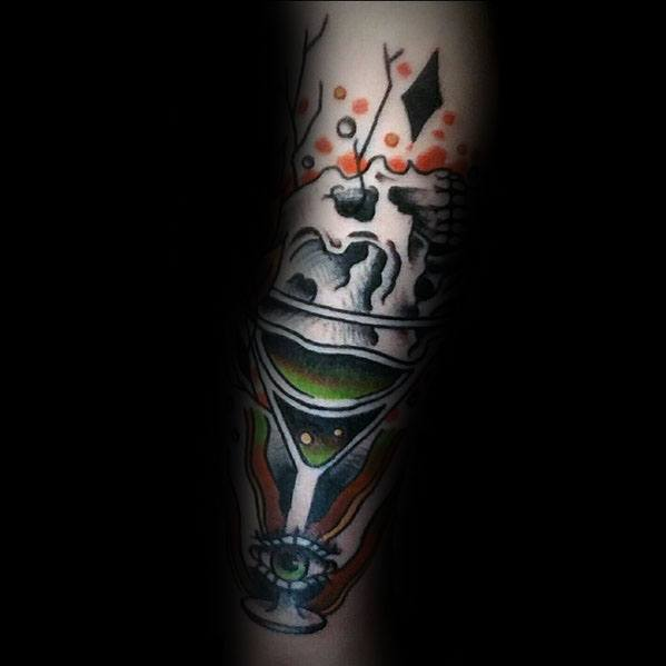 Guys Martini Glass Tattoo Design Ideas