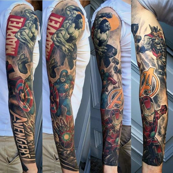 60 marvel tattoos for men superhero comic design ideas. Black Bedroom Furniture Sets. Home Design Ideas