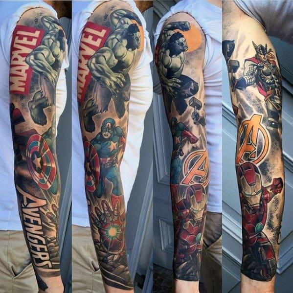 Guys Marvel Avengers Full Sleeve Tattoos