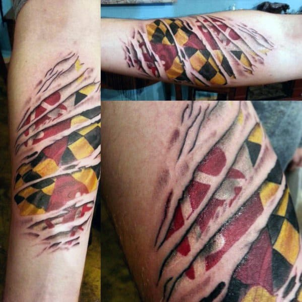 Guys Maryland Flag Tattoo Design Ideas
