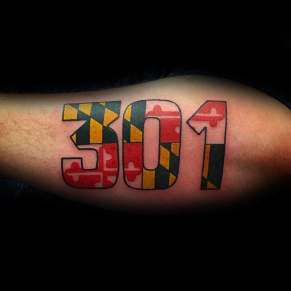 Guys Maryland Flag Tattoos