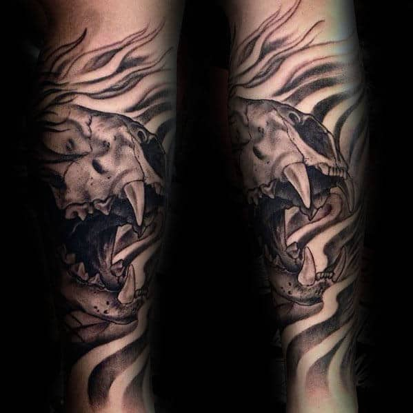 Guys Masculine Lion Skull Forearm Sleeve Tattoo Designs