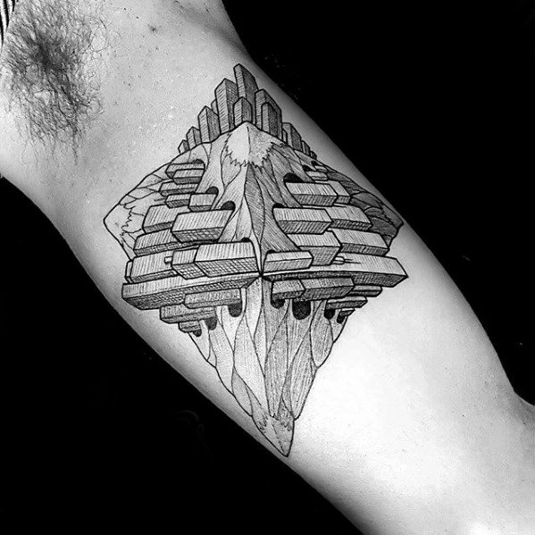 Guys Mc Escher Inner Arm Bicep Tattoo Design Ideas