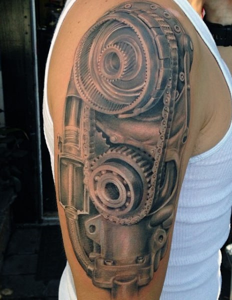 Guy's Mechanical Tattoos For Men