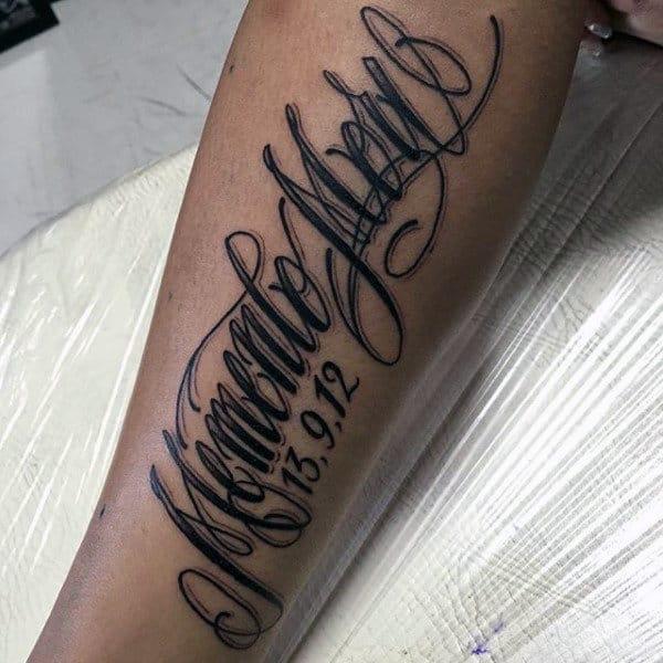 Guys Memento Mori Memorial Inner Forearm Tattos