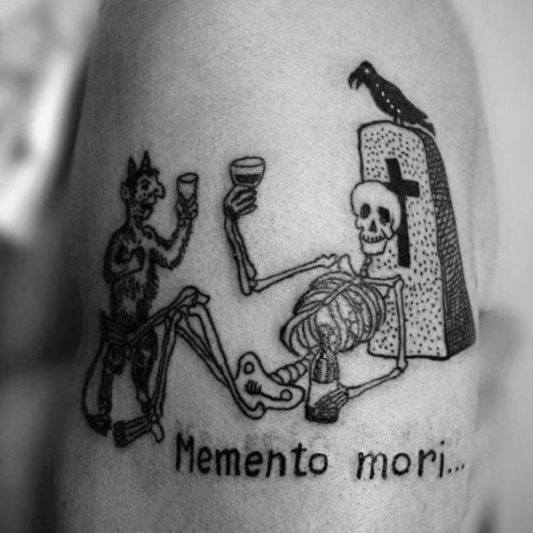 Guys Memento Mori Upper Arm Graveyard Scene Tattoo