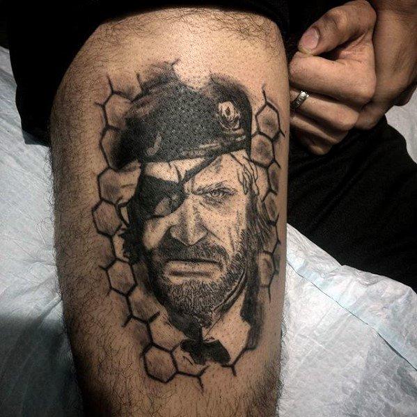 Guys Metal Gear Tattoo Deisgns On Thigh