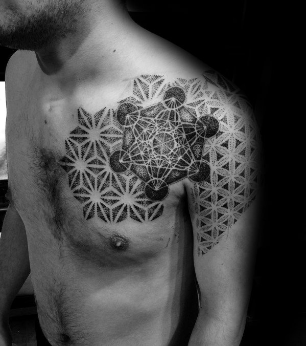 Guys Metatrons Cube Tattoo Design Idea Inspiration