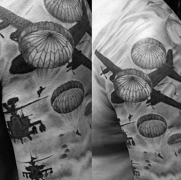 Guys Military Arm Parachute Tattoo Design Ideas