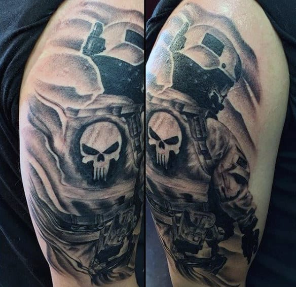 Guy's Military Arm Tattoos