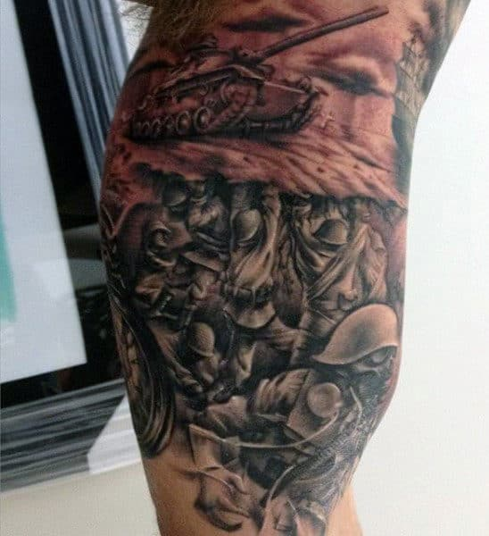 Guy's Military Eagle Tattoo On Bicep
