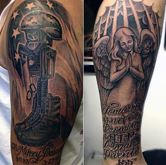 Guys Military Memorial Upper Arm Tattoos