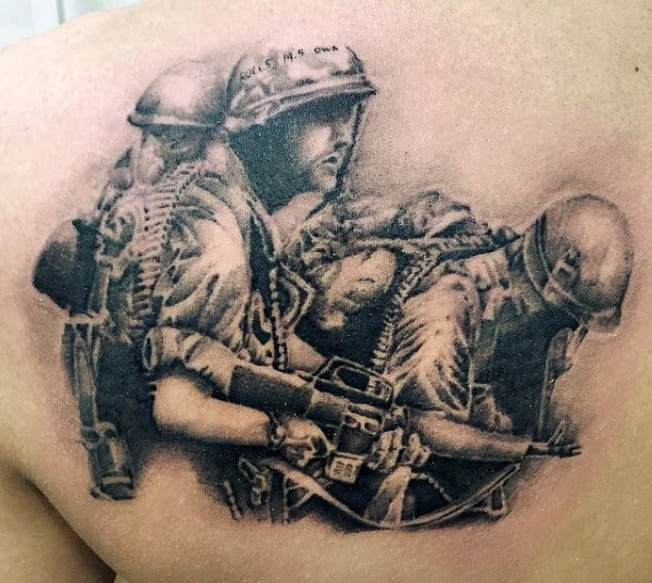 Guy's Military Pin Up Tattoos