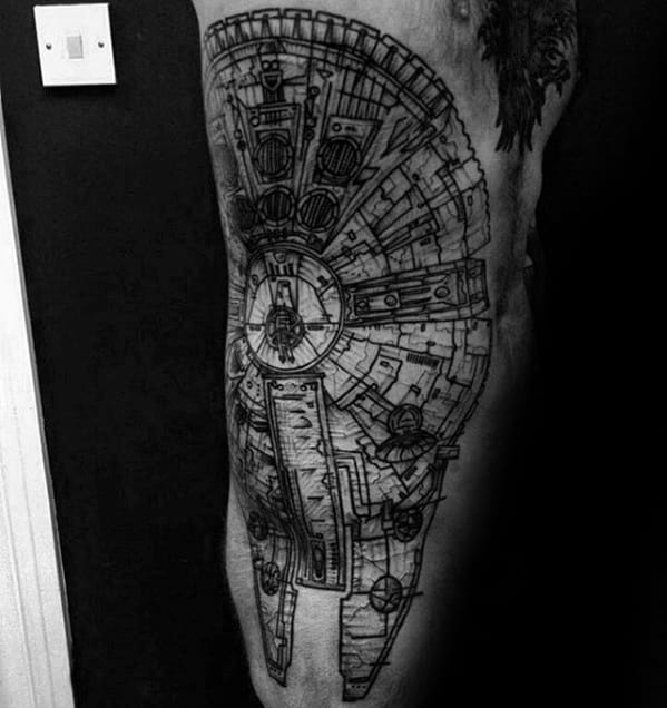 Guys Millennium Falcon Tattoo Design Ideas