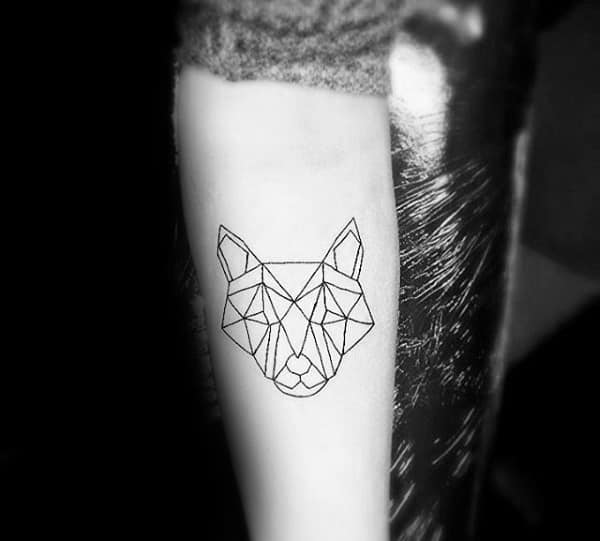 Guys Minimalist Geometric Wolf Tattoo On Inner Forearm With Black Ink Outlines