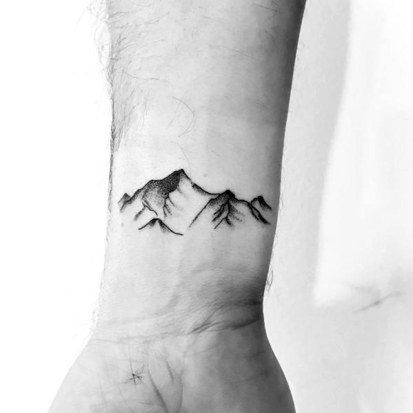 Guys Minimalist Mountain Tattoo Design Ideas