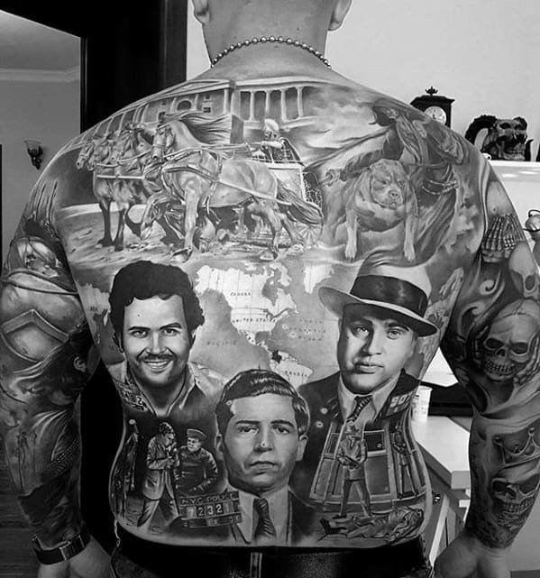 Guys Mobster Themed Unbelievable Back Tattoo Ideas