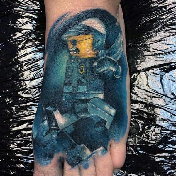 Guys Modern Lego Watercolor Foot Tattoo Design Inspiration
