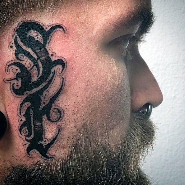 Guys Modern Lettering Black Ink Face Tattoo Designs