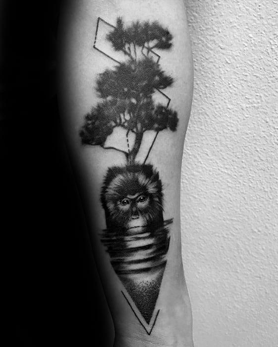 Guys Monkey Ree Geometric Forearm Tattoo Design Ideas