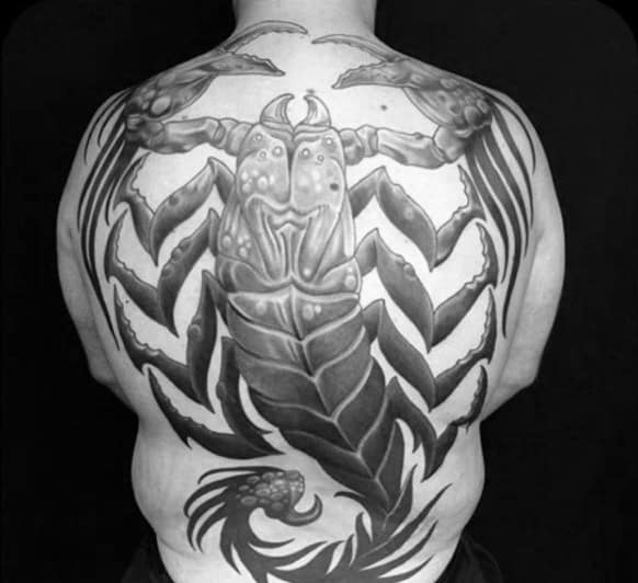 Guys Monstrous Grey Scorpion Tattoo Full Back