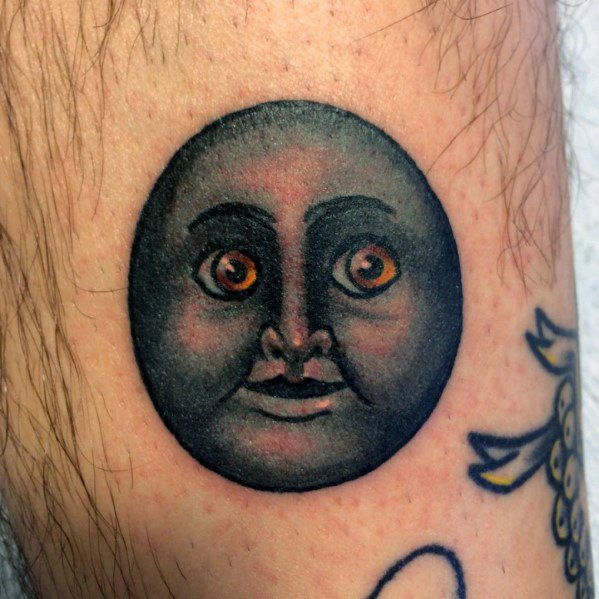 Guys Moon Face Emoji Tattoos On Leg