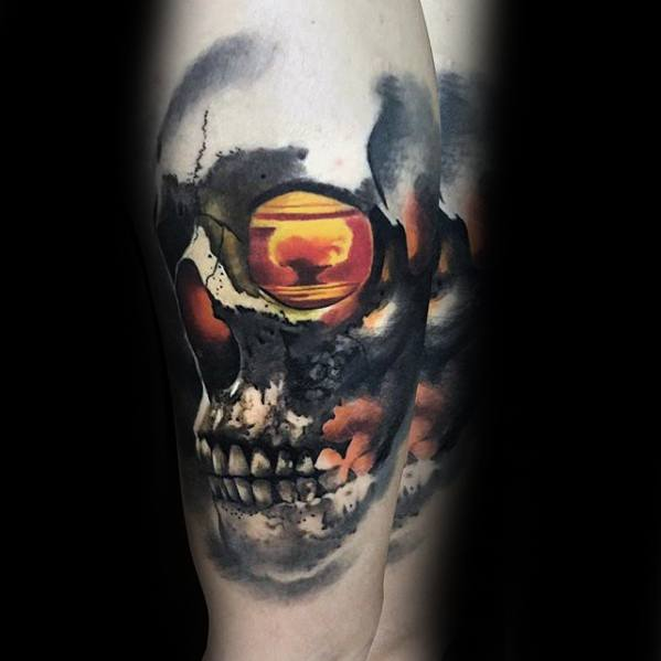 Guys Morph Tattoo Forearm Skull With Explosion Blast Design