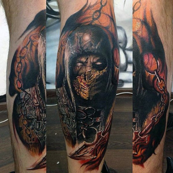 Guys Mortal Kombat Scorpion Leg Tattoos