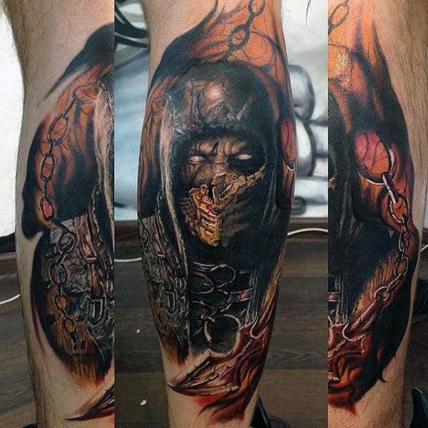 Guys Mortal Kombat Scorpion Leg Tattoos