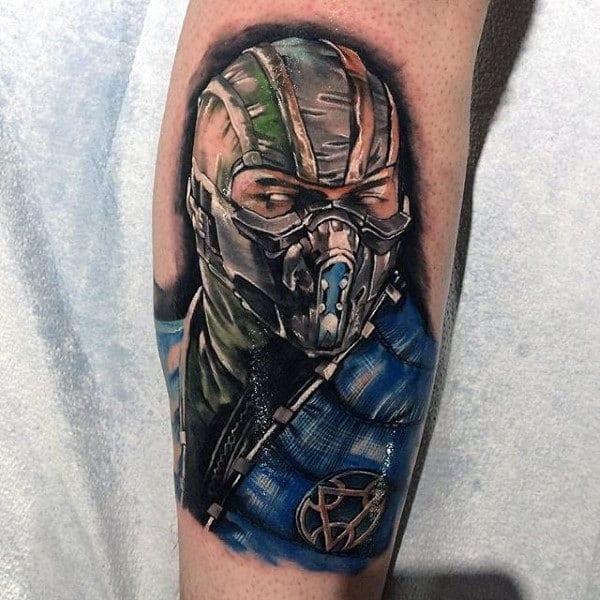 Guys Mortal Kombat Sub Zero Tattoo On Back Of Leg Calf