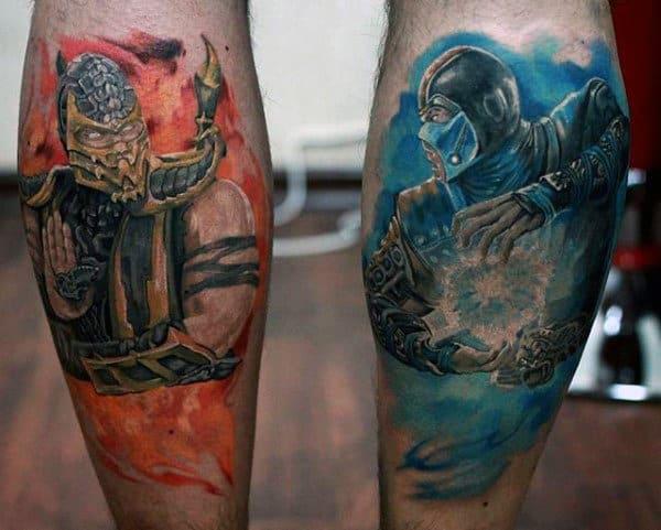 Guys Mortal Kombat Watercolor Back Of Legs Tattoos