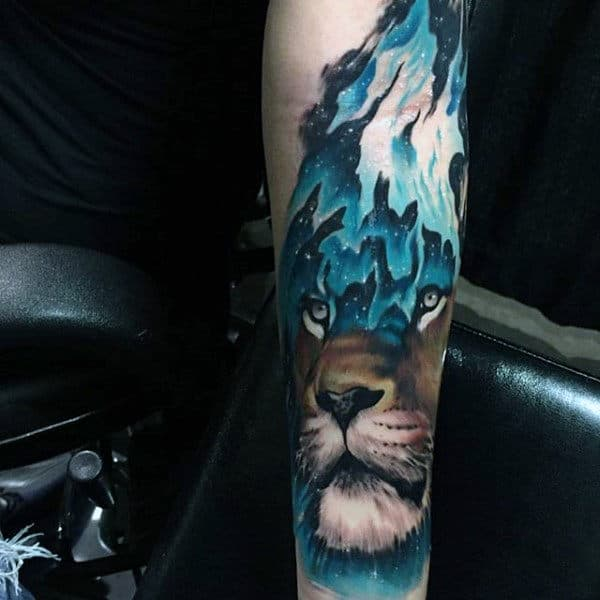 Guys Mountain Lion Lower Forearm Sleeve Animal Tattoo Design Inspiration