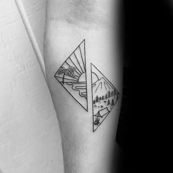 Guys Mountain Wave Tattoos