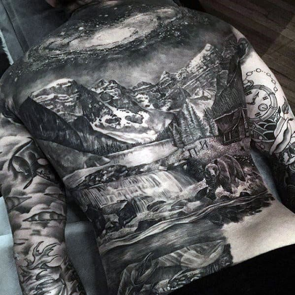 Guys Mountain With Night Sky Badass Landscape Back Tattoos