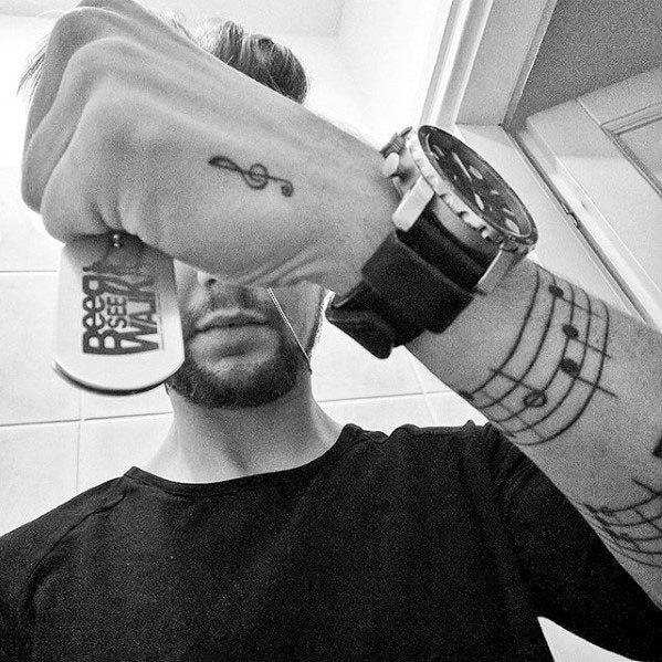 Guys Music Staff Tattoos Forearm Band