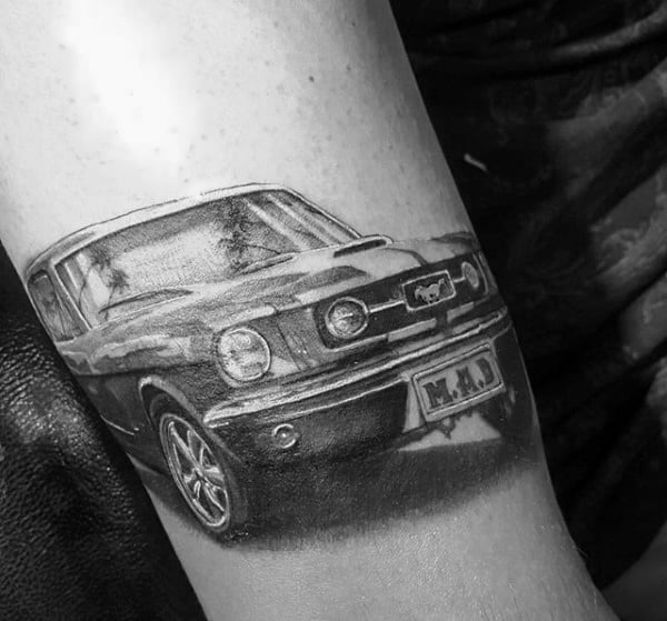 Guys Mustang Front Of Car Tattoo On Arm