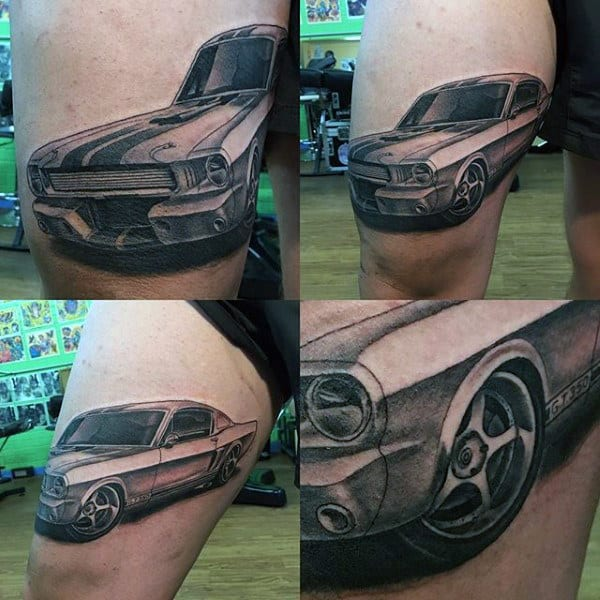 Guys Mustang Muscle Car Thigh Tattoos
