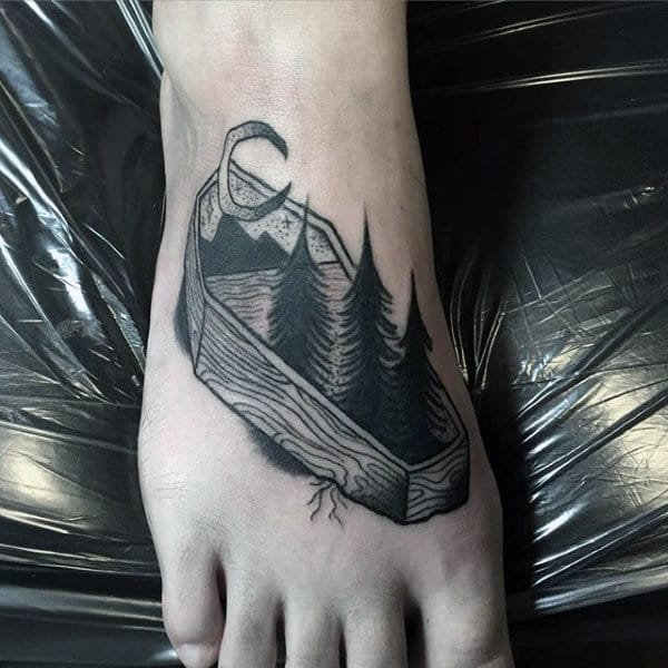 Guys Nature Cofffin Tattoo On Foot