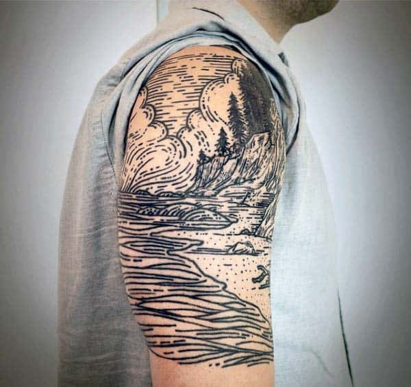 80 woodcut tattoo designs for men engraved ink ideas for Cost of a half sleeve tattoo