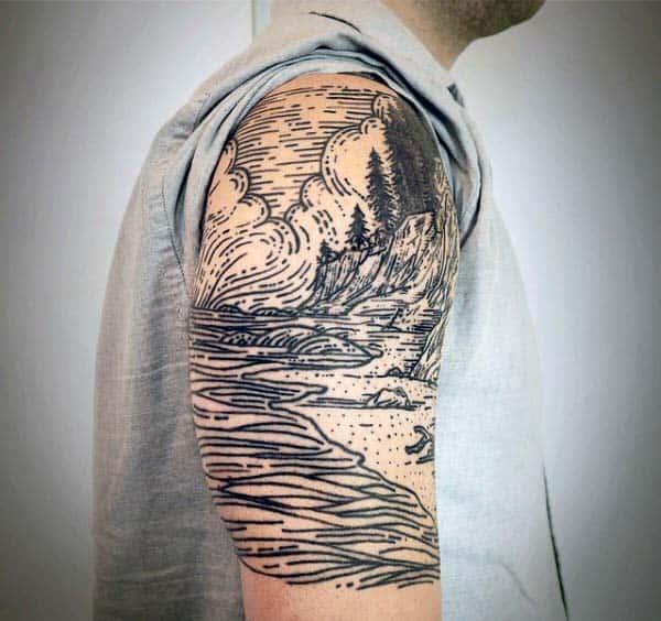Guys Nature River Woodcut Half Sleeve Tattoo Ideas
